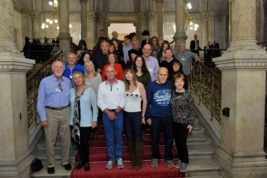"Guests visiting the Vienna City Hall with the ""program for expelled Jewish citizens"""