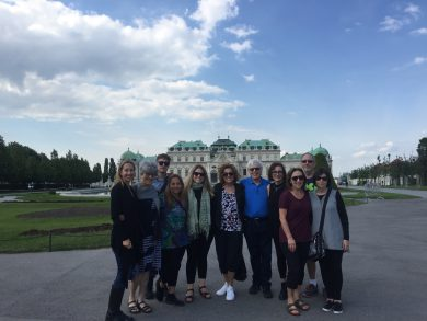 Study group from the Holocaust Education Centre Toronto in front of the Belvedere
