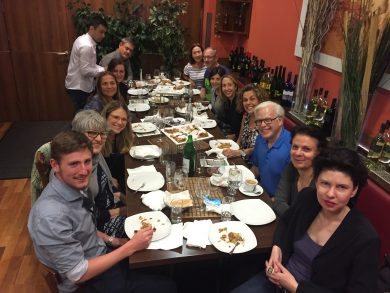 Study group from the Holocaust Education Centre Toronto at dinner with host Susanne Trauneck (JWS)